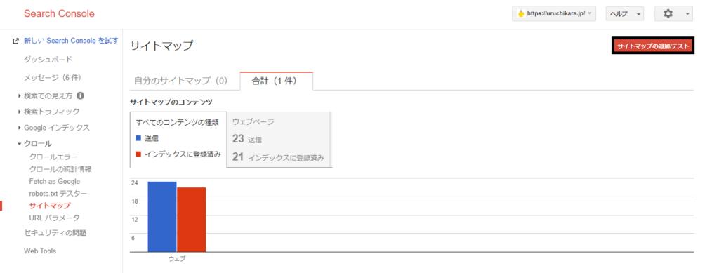 「サイトマップの追加/テスト」をクリックのキャプチャー画像