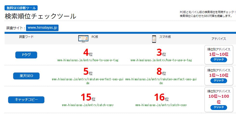 SEO pitshu(ピッシュ)の検索結果のキャプチャー画像